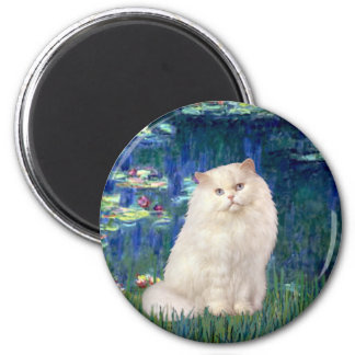 Lilies 5 - White Persian cat 2 Inch Round Magnet