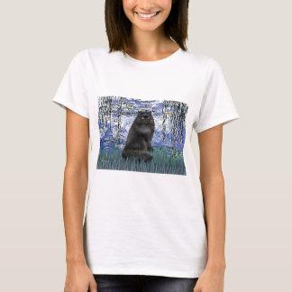 Lilies 6 - black Persian cat T-Shirt