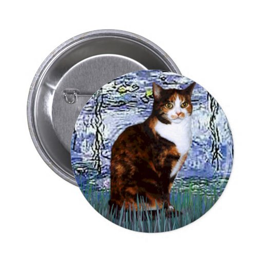 Lilies 6 - Calico cat Button