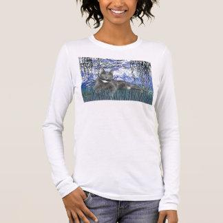 Lilies 6 - Grey cat Long Sleeve T-Shirt