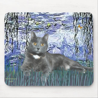 Lilies 6 - Grey cat Mouse Pad
