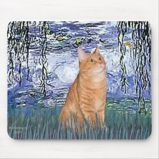 Lilies 6 - Orange Tabby cat 46 Mouse Pad