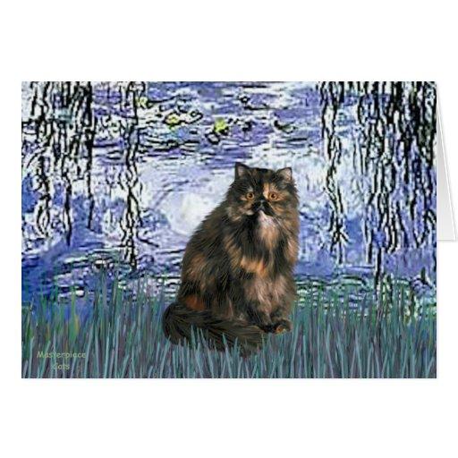 Lilies 6 - Persian Calico cat Card