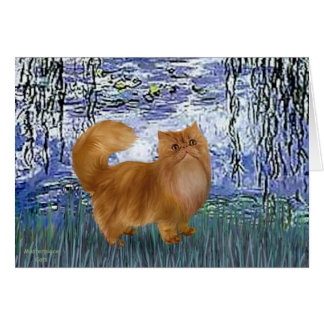 Lilies 6 - Red Persian cat Card