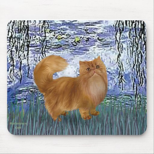 Lilies 6 - Red Persian cat Mouse Pad