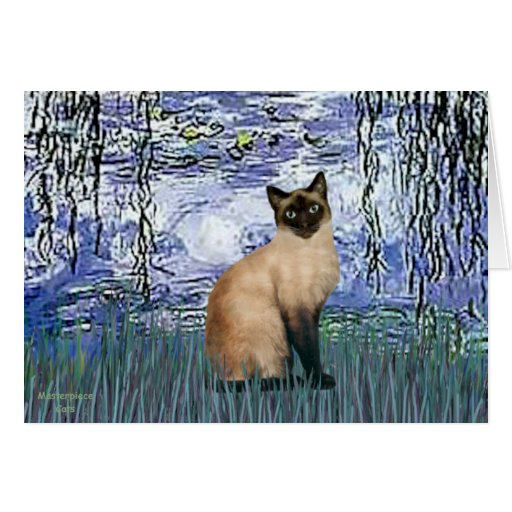 Lilies 6 - Seal Point Siamese cat Greeting Card