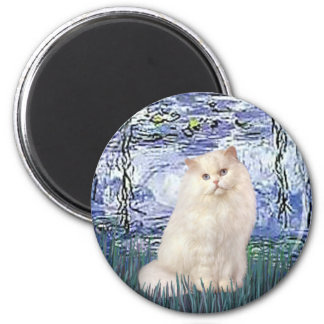Lilies 6 - White Persian cat Magnet