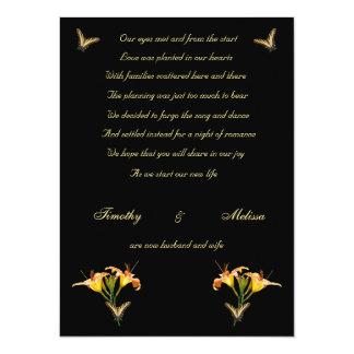"Lilies and Butterflies elopement announcement 5.5"" X 7.5"" Invitation Card"
