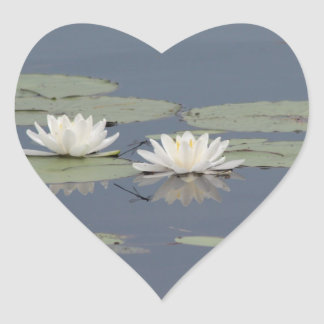Lilies and Dragonfly Heart Sticker