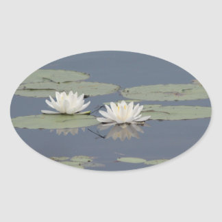 Lilies and Dragonfly Oval Sticker