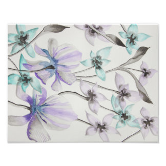 Lilies and Orchids Watercolor print Photo Art