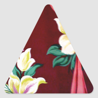 lilies and ribbons triangle sticker