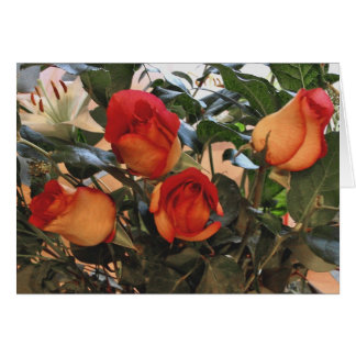 Lilies and Two-Colored Roses Card