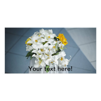 Lilies bouquet customized photo card