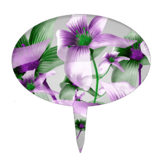 Lilies Collage Art in Green and Violet Colors Cake Topper