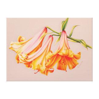 """Lilies"" fine art botanical canvas print medium"