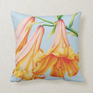 Lilies fine art by Sarah Trett blue orange pillow