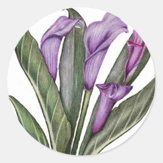 Lilies Floral  Art Classic Round Sticker