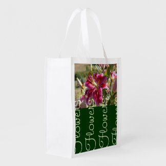 Lilies Flowers ReUsable Tote Bags custom Floral Grocery Bag