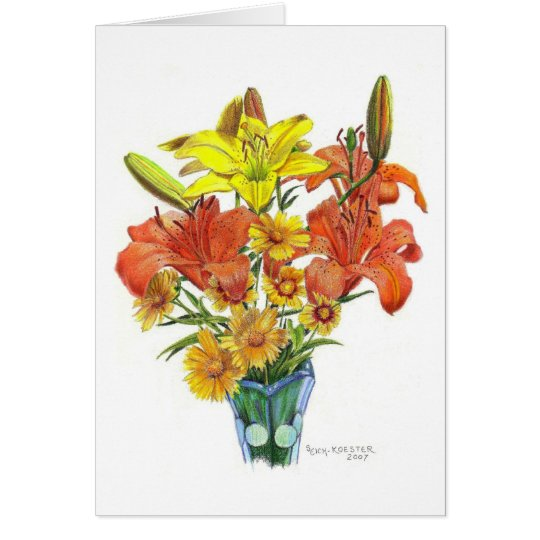 Lilies galore in Colored Pencil Card