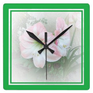 Lilies Green 3 Clock