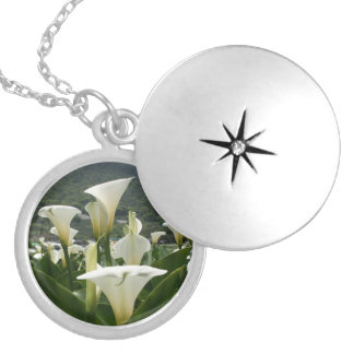Lilies growing at Calla Lily Plantation, Taiwan Round Locket Necklace