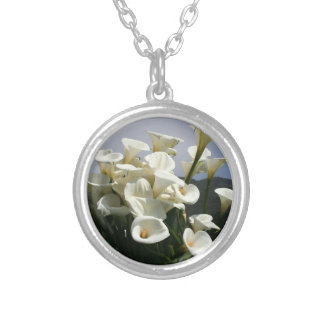 Lilies growing at Calla Lily Plantation, Taiwan Round Pendant Necklace