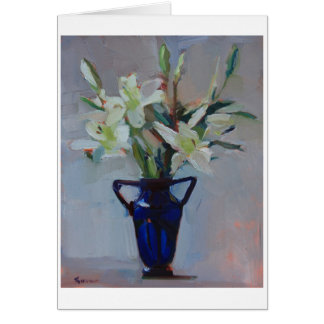 'Lilies in Blue' - white lilies in a blue vase Stationery Note Card