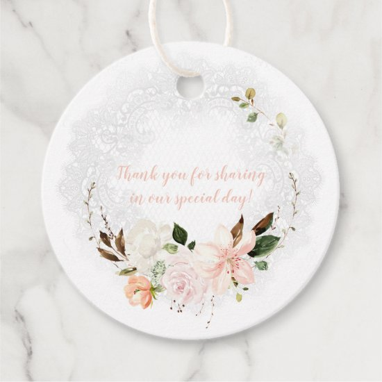 Lilies, Magnolias, Peonies, Roses Lace Wedding | Favor Tags