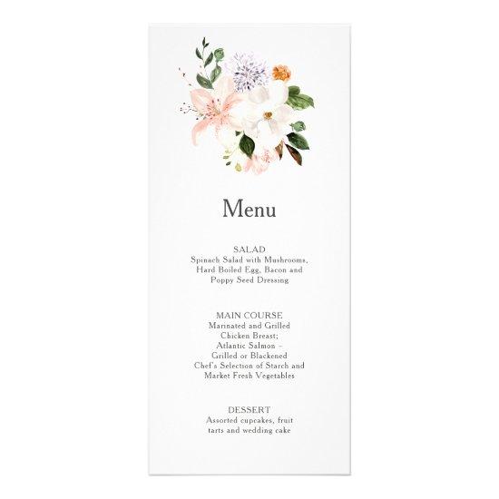 Lilies, Magnolias, Peonies, Roses Wedding | Menu