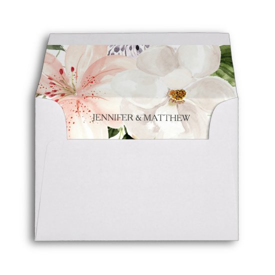 Lilies, Magnolias, Roses Future Mr. and Mrs. RSVP Envelope
