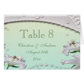 Lilies Mint Green Wedding Table Number Card