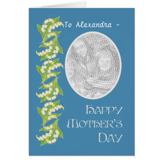 Lilies Mothers Day Photo Card, Blue to Personalize Card