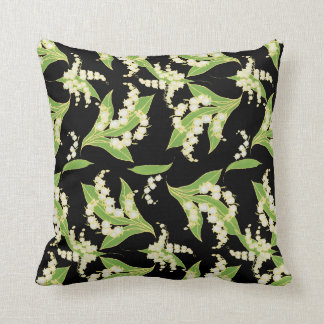 Lilies-of-the-Valley Floral Pattern on Black Throw Pillow