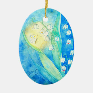 Lilies Of The Valley With Butterfly Ceramic Ornament