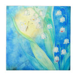 Lilies Of The Valley With Butterfly Small Square Tile