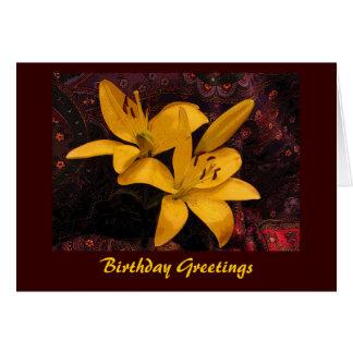 Lilies on Paisley Birthday Card
