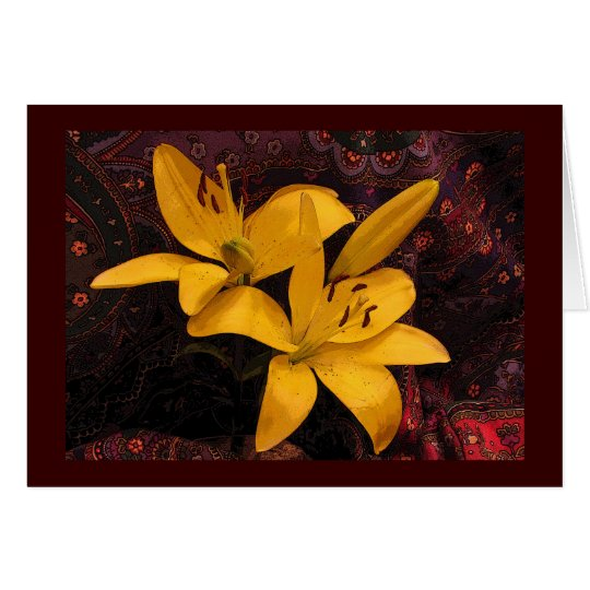 Lilies on Paisley Thinking of You Card