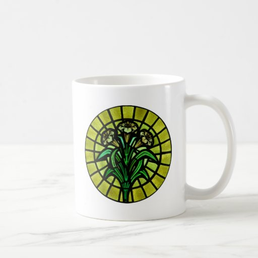Lilies on Stained Glass Coffee Mug