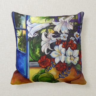"""Lilies & Pears 16"""" X 16"""" Cotton Pillow"""