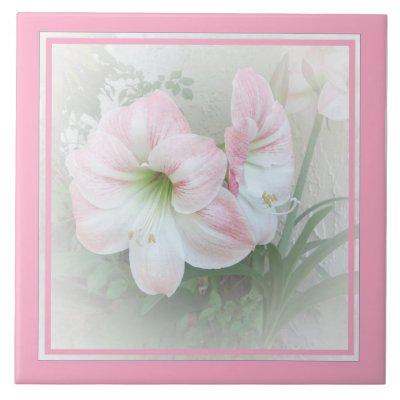 Lilies pink 3 Tile zazzle_tile