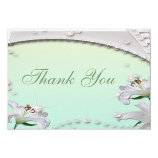 Lilies & Sparkles Mint Green Wedding Thank You Card