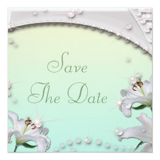 Lilies & Sparkles Mint Wedding Save the Date Card