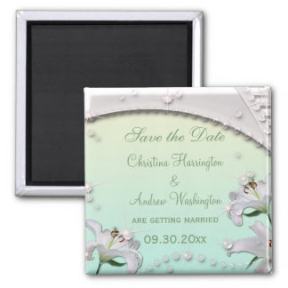 Lilies & Sparkles Mint Wedding Save the Date Refrigerator Magnet