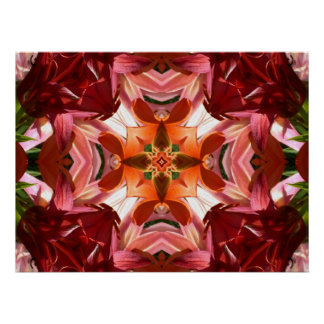 Lilies Times Four Abstract Art Poster