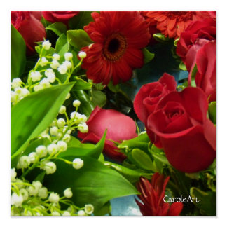 Lilies White Roses Red Poster
