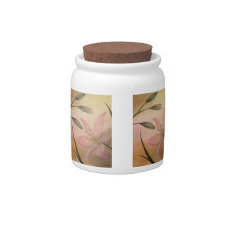 Lilies with Buds Candy Jar
