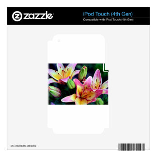 Lilies with Rain Decal For iPod Touch 4G