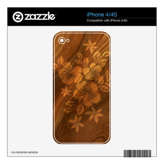 Lilikoi Hibiscus Hawaiian Faux Koa Wood Skin Decals For The iPhone 4S