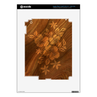 Lilikoi Hibiscus Hawaiian Faux Koa Wood Skin iPad 3 Decal